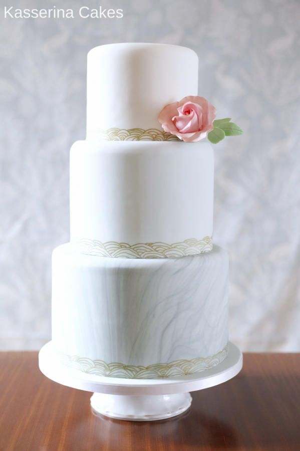Ombre wedding cake with marbled bottom tier by Kasserina Cakes - http://cakesdecor.com/cakes/283288-ombre-wedding-cake-with-marbled-bottom-tier