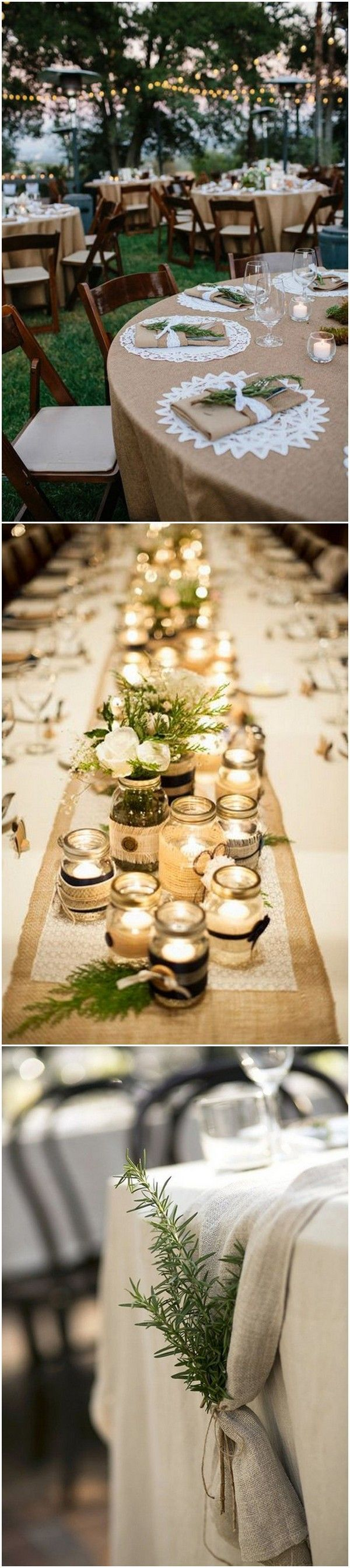 country rustic lace and burlap wedding table decoration ideas