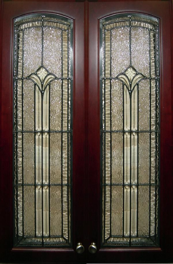 79 best leaded glass images on pinterest for Beveled glass kitchen cabinets