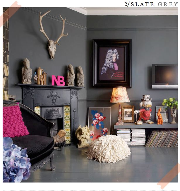 Dark gray... It looks so sexy in photos but I always worry that it would make me sad. And yet, how sad could one with a living room like this?