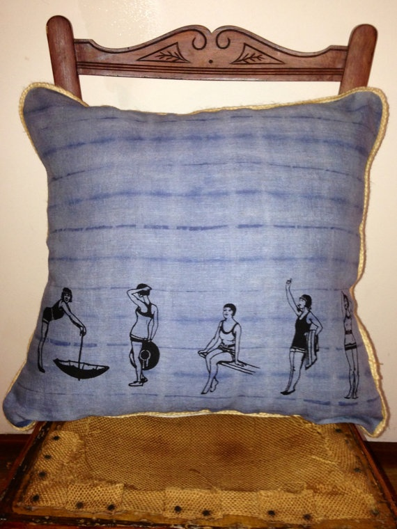 Linen Cushion  Gatsby Girls black screenprint by VintageCoastInt, $39.00
