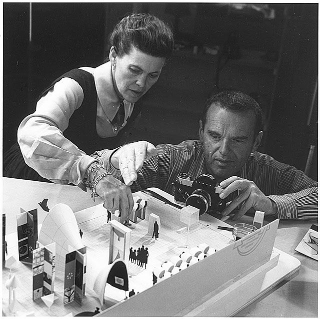 Ray and Charles Eames; Charles was an American Designer who never finished his Architecture degree which was said to be the fault of his support for Frank Lloyd Wright & forward modern views not compliant with the University. He was nephew of Willam Eames a well noted Architect. Ray his wife, was a Filmmaker, American artist, and Designer. She met Charles in1940 while preparing the drawings and models for MOMA Organic Design in Home Furnishings Competition. They married a year later in 1941.