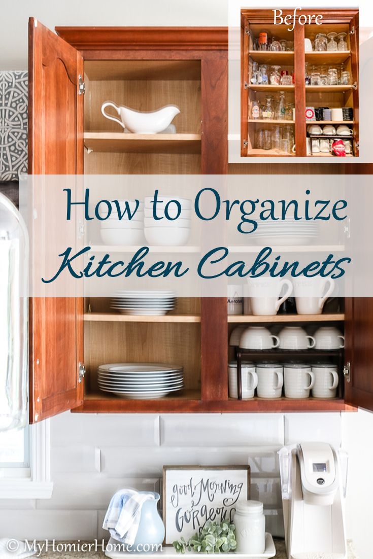 How To Organize Kitchen Cabinets My Homier Home In 2020 Easy Kitchen Renovations Cheap Kitchen Cabinets Kitchen Cabinets And Cupboards