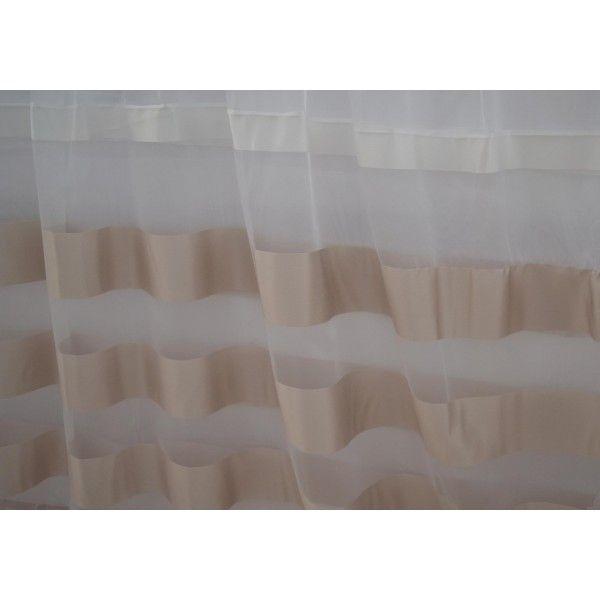Κουρτίνες έτοιμες ραμμένες οργάντζα με ρίγες στο τελείωμα λευκό KE 684 (280X140cm)