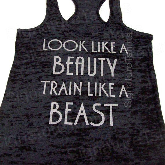 Look Like A BEAUTY train like a BEAST Womens Workout Tank top Racerback Burnout clothing fitness gym Black on Etsy, $22.95