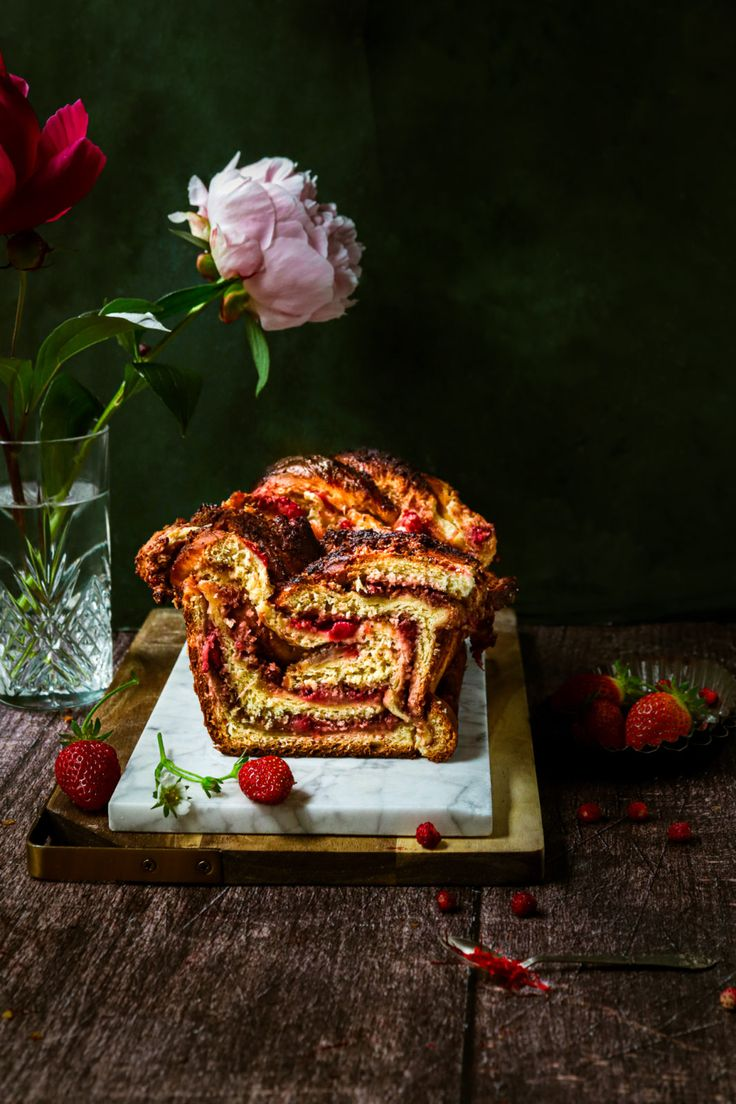 Jul 12, 2020 – This babka is a super fluffy thing made out of brioche dough with saffron and stuffed with fresh strawber…