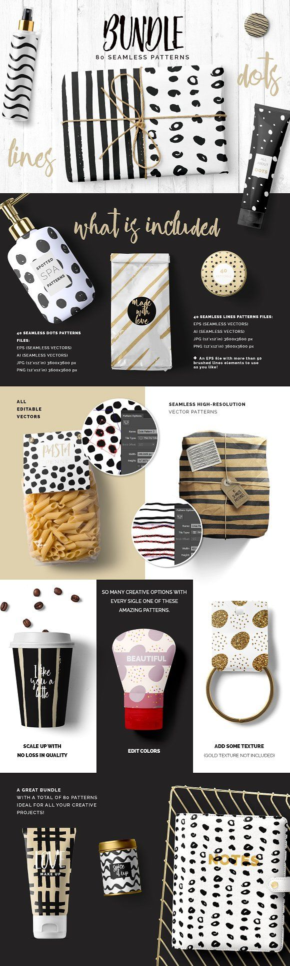 Dots & Lines Patterns Bundle by Youandigraphics on @creativemarket