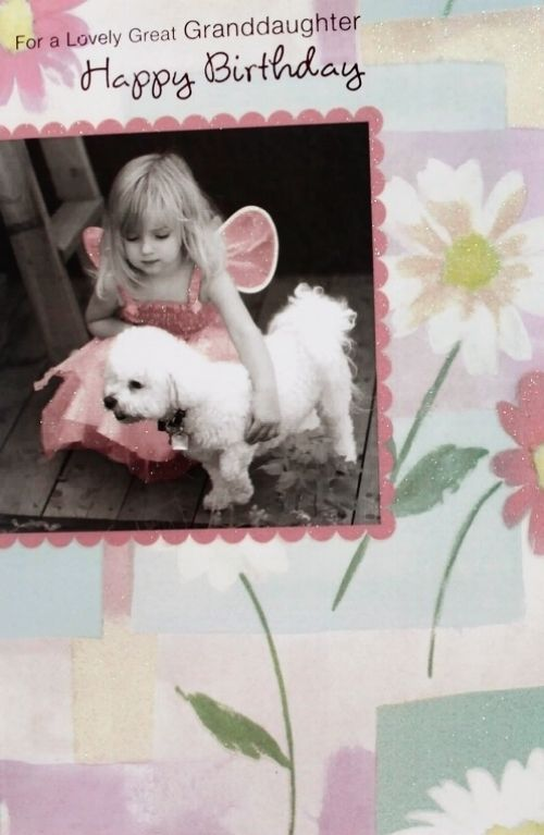 For a lovely Granddaughter happy Birthday greeting card, girl & dog theme, new