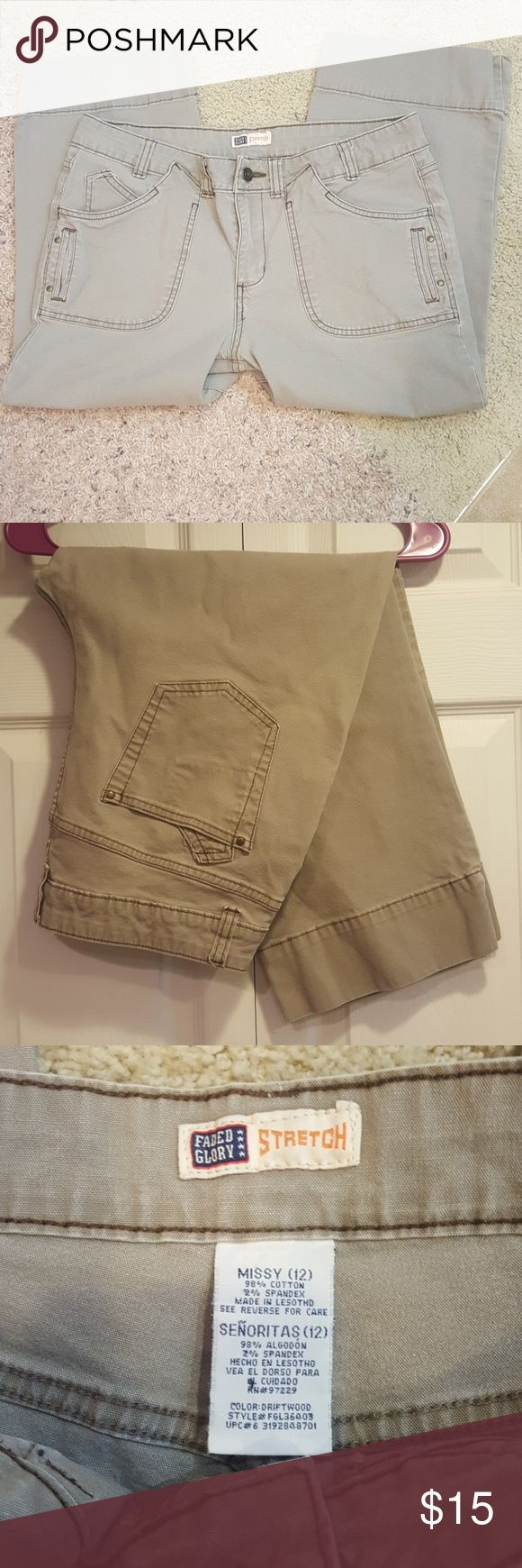 Women's Khaki Capri Pants ...excellent used condition  ... these are so great, I'm sad they don't fit me anymore ... first picture shows color the best Faded Glory Pants Capris