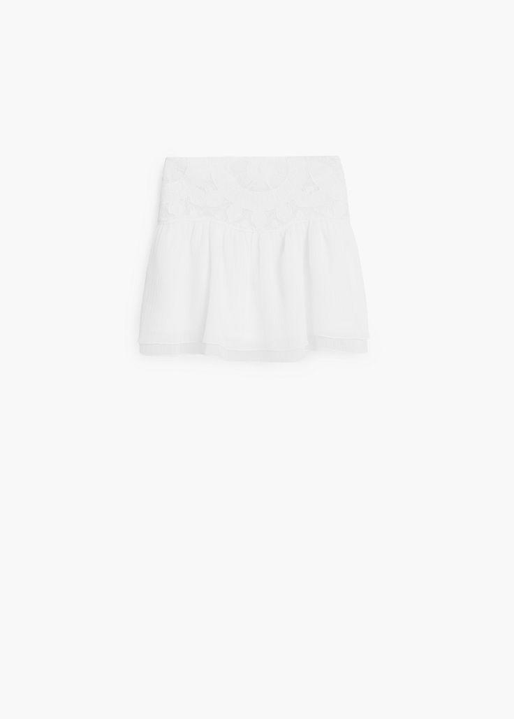 Falda algodón bordados