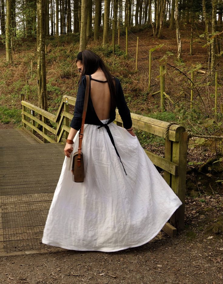 Wide Linen Skirt, Cream White Skirt, Handmade, Natural Fabric, Casual Clothing, Sustainable fashion, Boho, Perfect Gift,  beach, hippie by LinenOldWays on Etsy