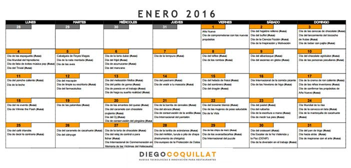 Enero 2016: Calendario de acciones de marketing para restaurantes | DiegoCoquillat.com