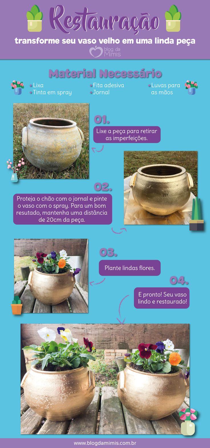 Restauração: transforme seu vaso velho em uma linda peça - Blog da Mimis #restauração #diy #spray #vaso