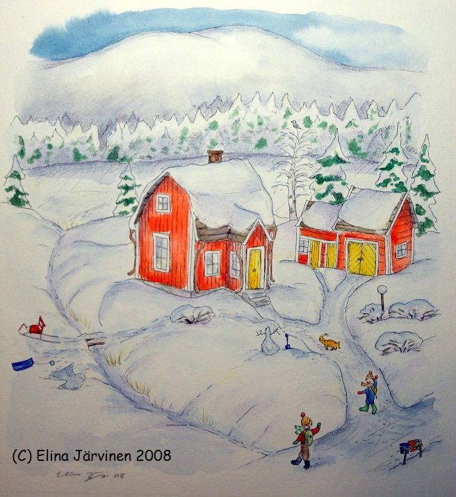 Maaria's home in Finnish Lapland. Illustration for Heipparallaa! Story by Liliana Stafford, illustrated by Elina Järvinen, published in 2008 by Windy Hollow Books, Australia.