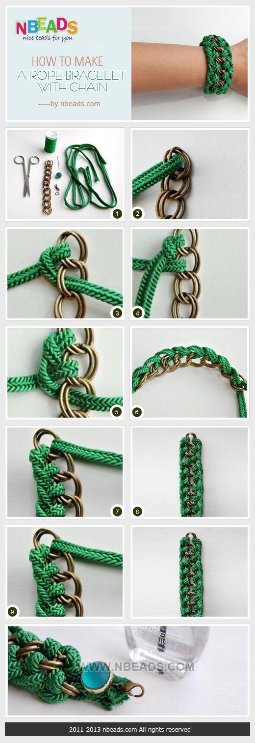 how to make a rope bracelet with chain ✭Teresa Restegui http://www.pinterest.com/teretegui/ ✭