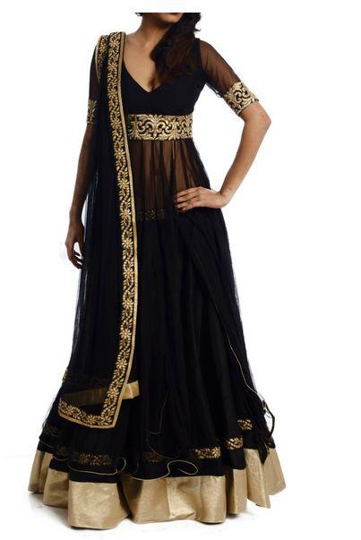 Transparent midriff lehengas and salwar kameez set - neo Indian fashion!