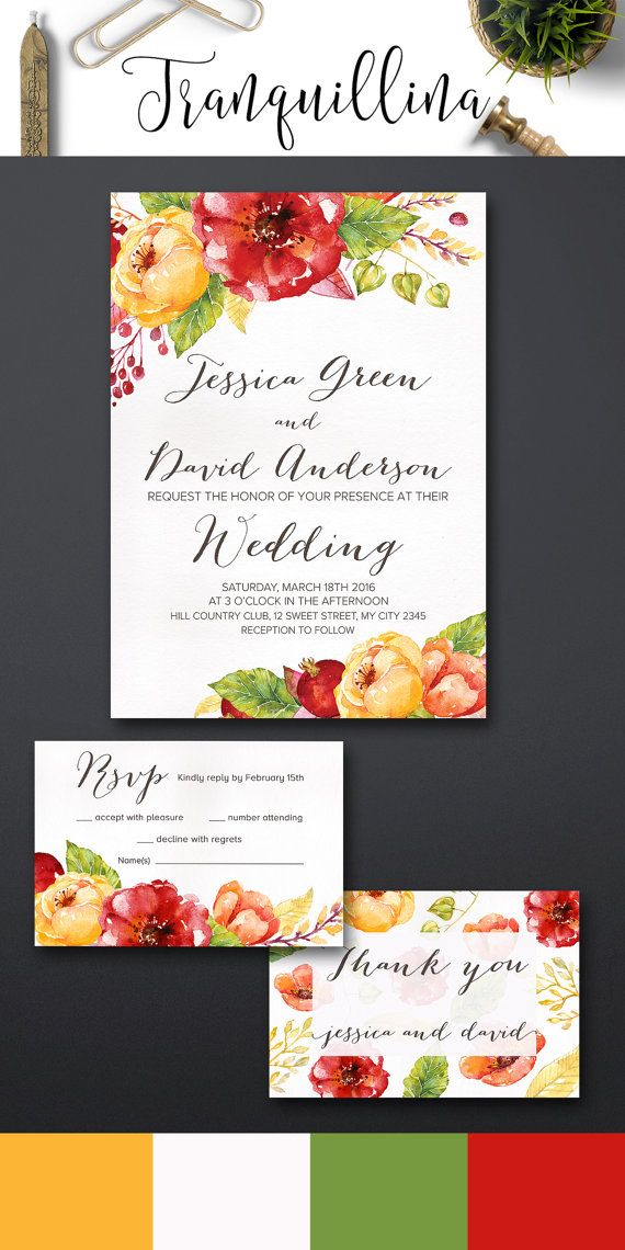 Floral Wedding Invitation Printable, Red & Yellow Wedding Ideas, Fall Summer Wedding Invitation Suite. You can choose invitation only or combine it with matching rsvp and thank you card. For more info, follow this link: tranquillina.etsy.com