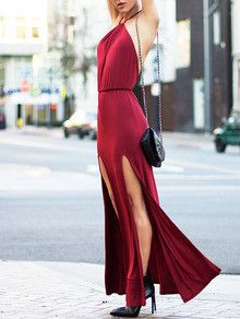 DESCRIPTION Fabric :Fabric is very stretchy Season :Summer Pattern Type :Plain Sleeve Length :Sleeveless Color :Burgundy Dresses Length :Maxi Style :Party Mater