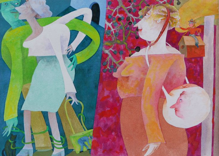 GLADYS NILSSON, Green Strap (2004,watercolor and gouache)