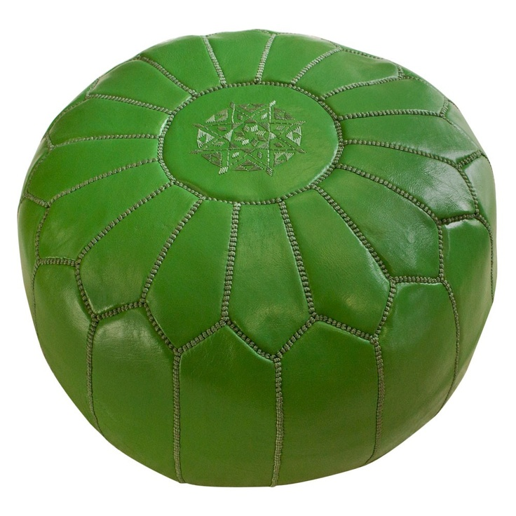 Green Moroccan Pouf: Living Rooms, One King Lane, Moroccan Ottomans, Kelly Green, Moroccan Leather, Moroccan Poufs, Products, Green Peas, Leather Poufs
