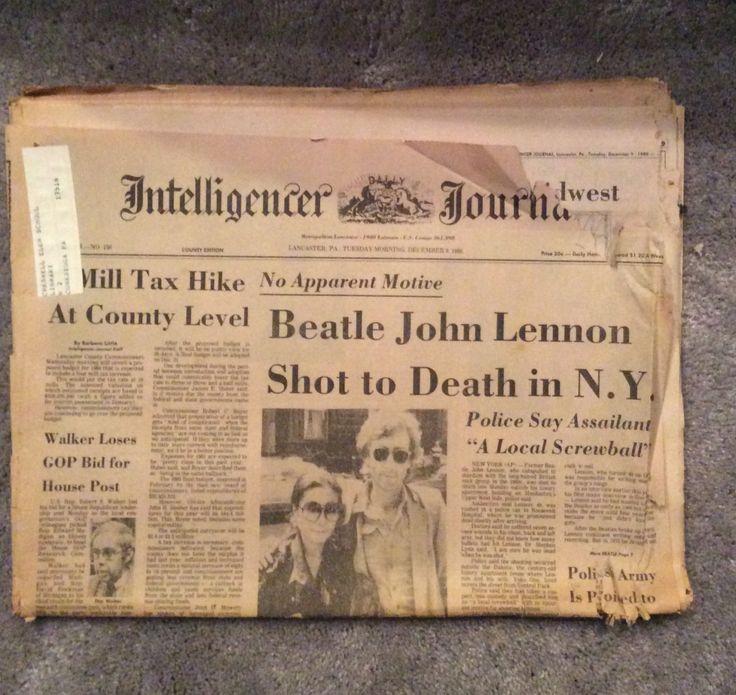 Vintage 1980 Lancaster Newspaper, Headline Death of John Lennon by MargiesCoolStuff on Etsy
