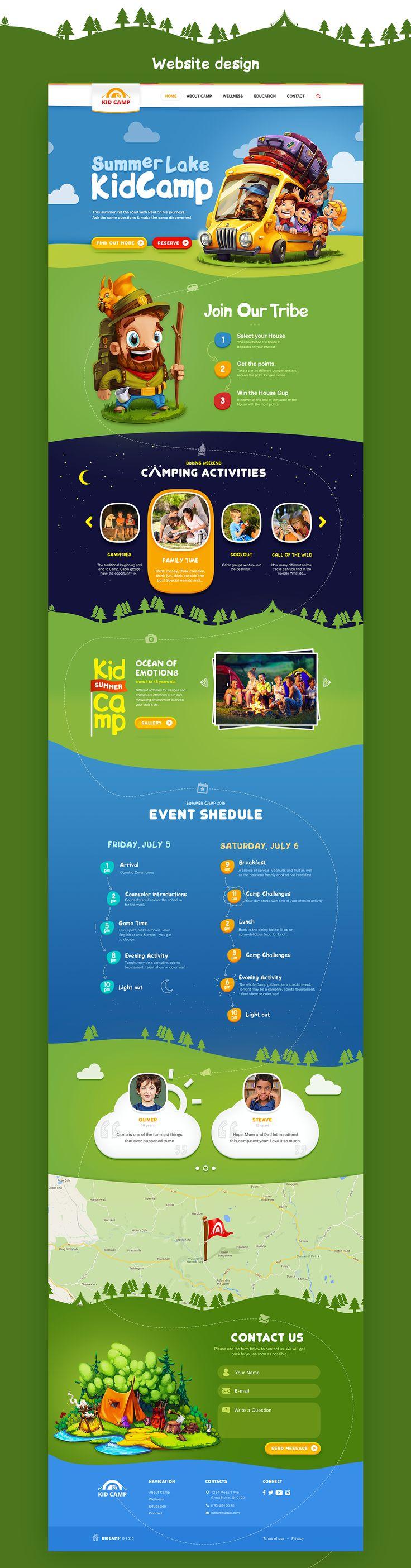 KidCamp website design on Behance