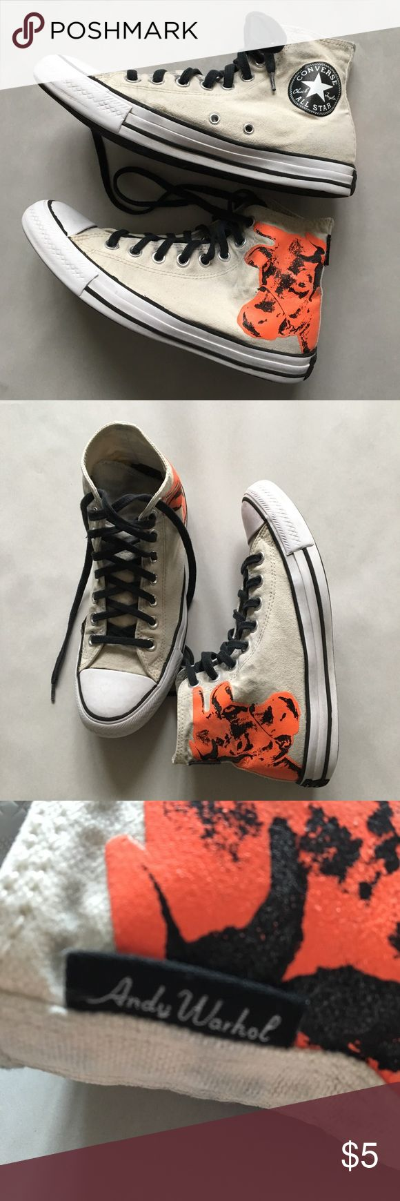 Converse Chucks - Andy Warhol cow design Converse Chucks with Andy Warhol's orange cow. Size is women's 8.5 and thus for men 6.5 respectively. These shoes have been heavily pre-loved by my daughter who is devastated that she has outgrown them. These chucks have been through the wringer by all means but perhaps someone may like this pre-worn old look?? Right shoe has a black ink stain on front. Right shoe also needs some gorilla glue to the sole. Shoes have been washed in my German Miele…