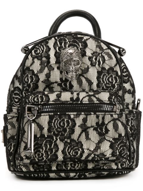 PHILIPP PLEIN Mini Lace Backpack. #philippplein #bags #backpacks #lace #cotton #