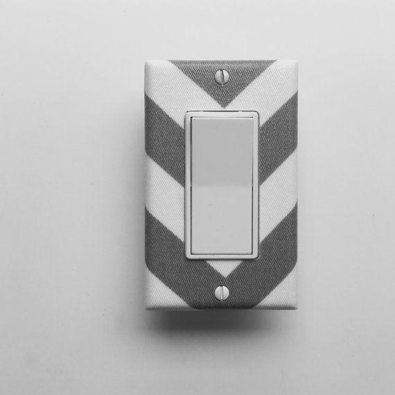 Chevron Light Switch Plate - Grey White Chevron Switch Cover - Chevron Bedroom Switch Plate - Outlet  Cover - Grey Chevron Nursery Decor