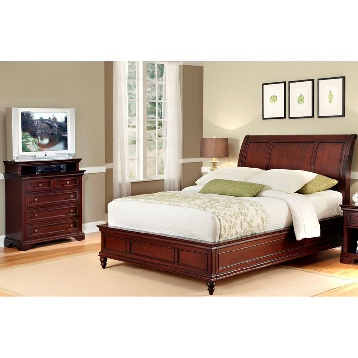 Home Styles King Size Bed And Media Chest (Lafayette King Sleigh Bed Set),  Brown Mahogany