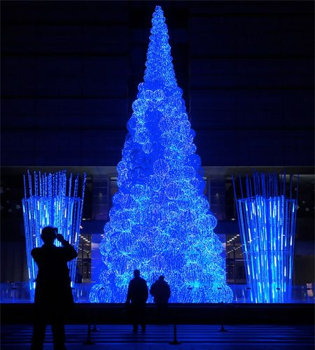 Beautiful Christmas tree in China made out of fiber optic cables.