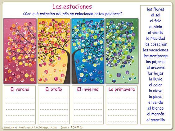 Good for Spanish vocabulary, Spanish reading, Spanish writing prompt. I, 11 - Me encanta escribir en español: ¿Qué palabras evocan las estaciones del año? (ejercicio)