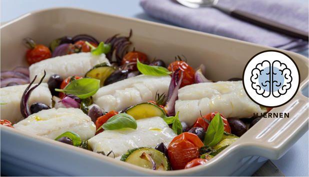 Torsk og grønnsaker bakt i samme form istekeovnener en god og enkel måte å lage middag på. Du kan bruke det tilbehøret du ønsker, i denne oppskriften foreslår vi potetmos.