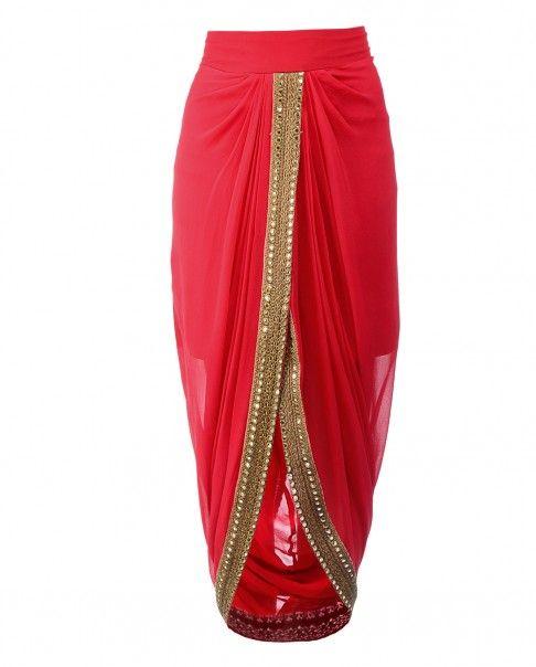 Red Draped Dhoti Skirt