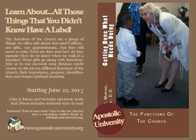 Class on the Functions of the church starts June 22! Enroll today - $60.00 per person.