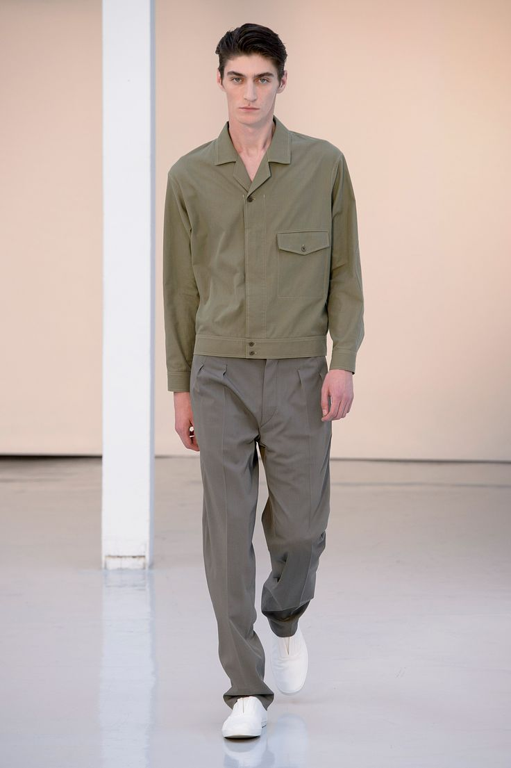 10. Shirt blouson in light-cotton twill, two pleated pants in cool wool gabradine, slip-on in cotton denim #lemaire