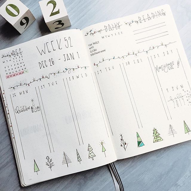 Here's a super simple #weeklyspread from @rozmakesplans. I LOVE her #handwriting and #christmastree #doodles. Just enough to so spice up her page. #Repost @rozmakesplans ・・・ Probably my favorite weekly.  #bulletjournal #planner #plannercommunity #bulletjo