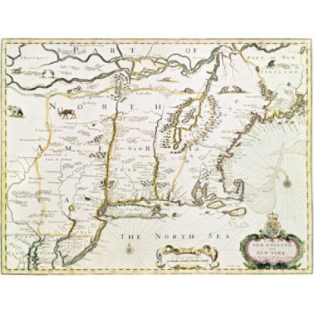New England and New York 1676 Maps Canvas Art - (18 x 24)