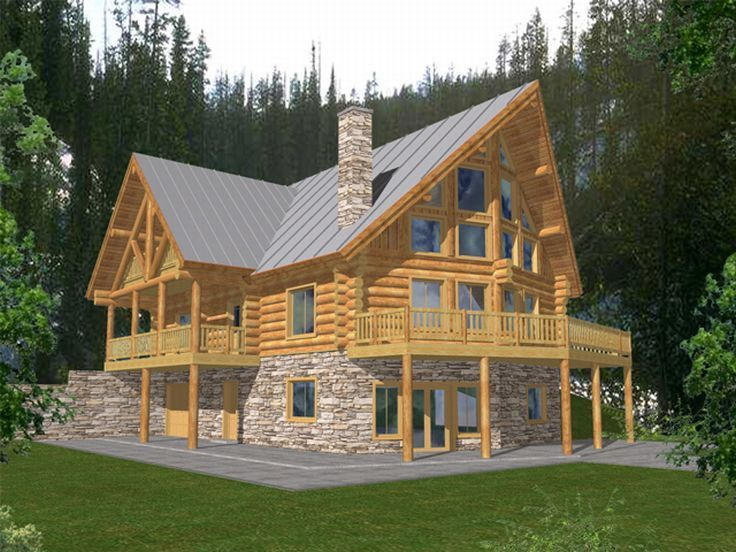 012l 0034 Mountain Log House Plan Offers 4 Bedrooms