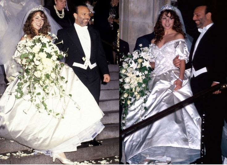 MARIAH CAREY This award-winning singer was attracting attention because of her large satin dress and not her voice during her 1993 wedding ceremony to then manager Tommy Mottola.