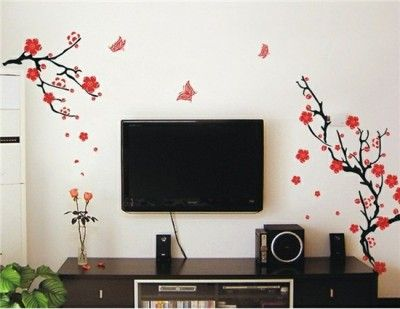 Unique Beautiful Branches with Flowers and Butterflys Wall Decal Stickers