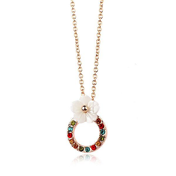 Rigant украшения красочные алмазный цветок ожерелье с оболочкой для девочек
