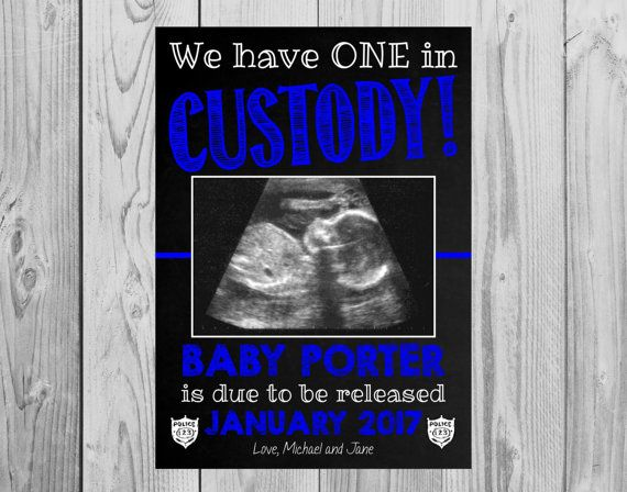 Police Officer Themed Pregnancy Announcement Card   Thin Blue Line   One in Custody   Size: 5x7 *DIGITAL FILE* by MMasonDesigns