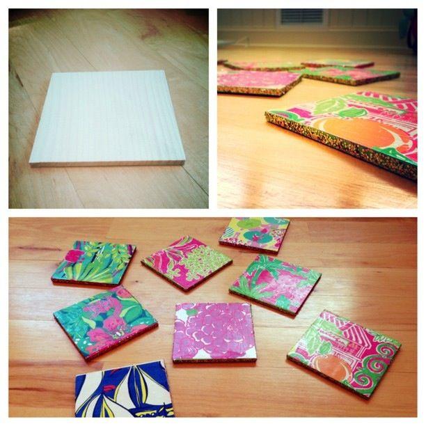 DIY Lilly Pulitzer Coasters!