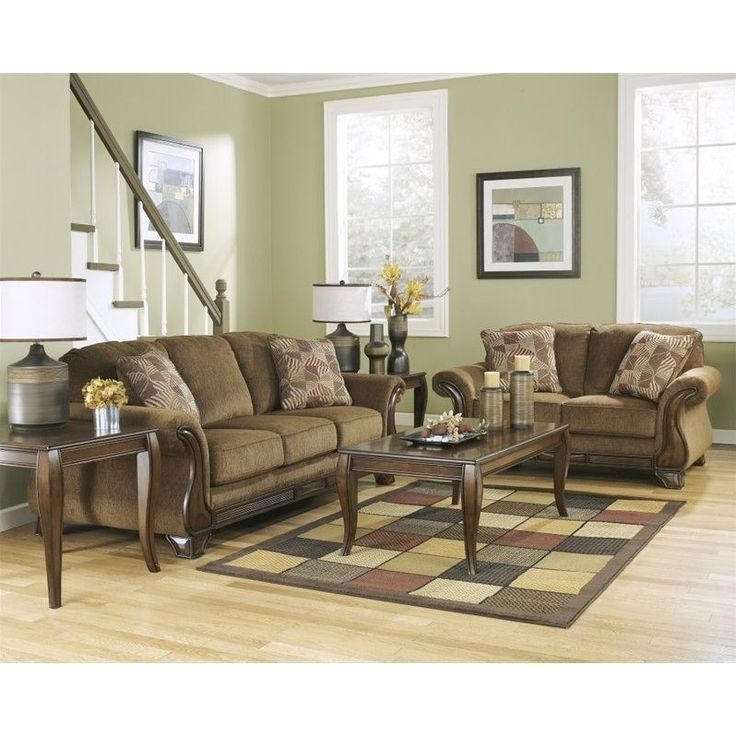 Lowest price online on all Signature Design by Ashley Furniture Montgomery Fabric Sofa Set in Mocha - 38300-38-35-SET