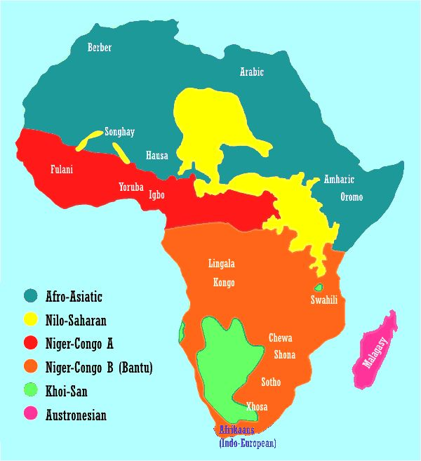 224 best linguistic mapping images on pinterest languages maps map showing the distribution of african language families and some major african languages gumiabroncs Choice Image