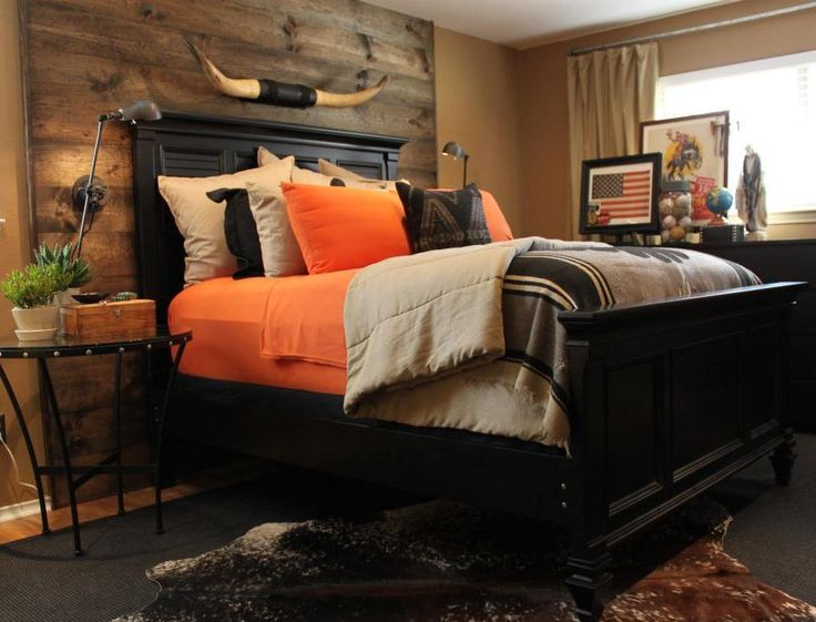 Finished #DIY #wood plank #wall with Orange Bedding and paired with black furniture.
