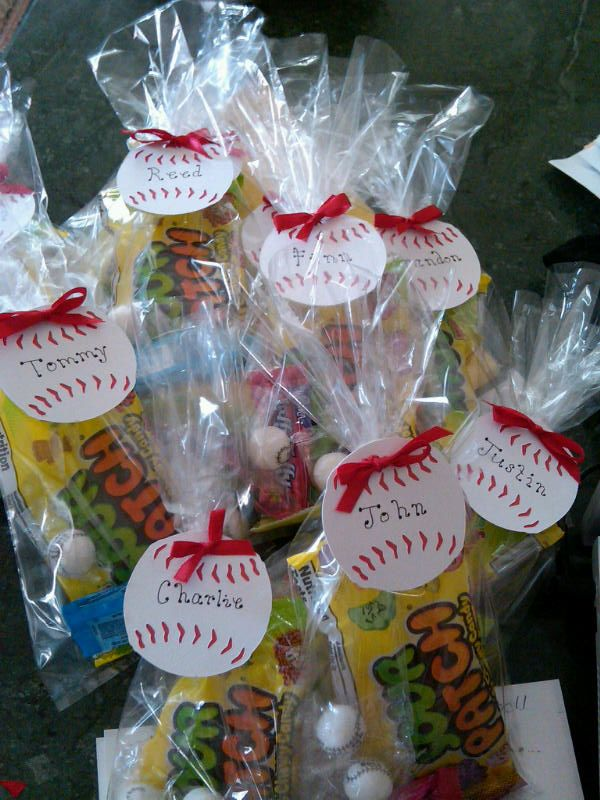 Softball treats for kids games, love the little softball tag with the ribbon