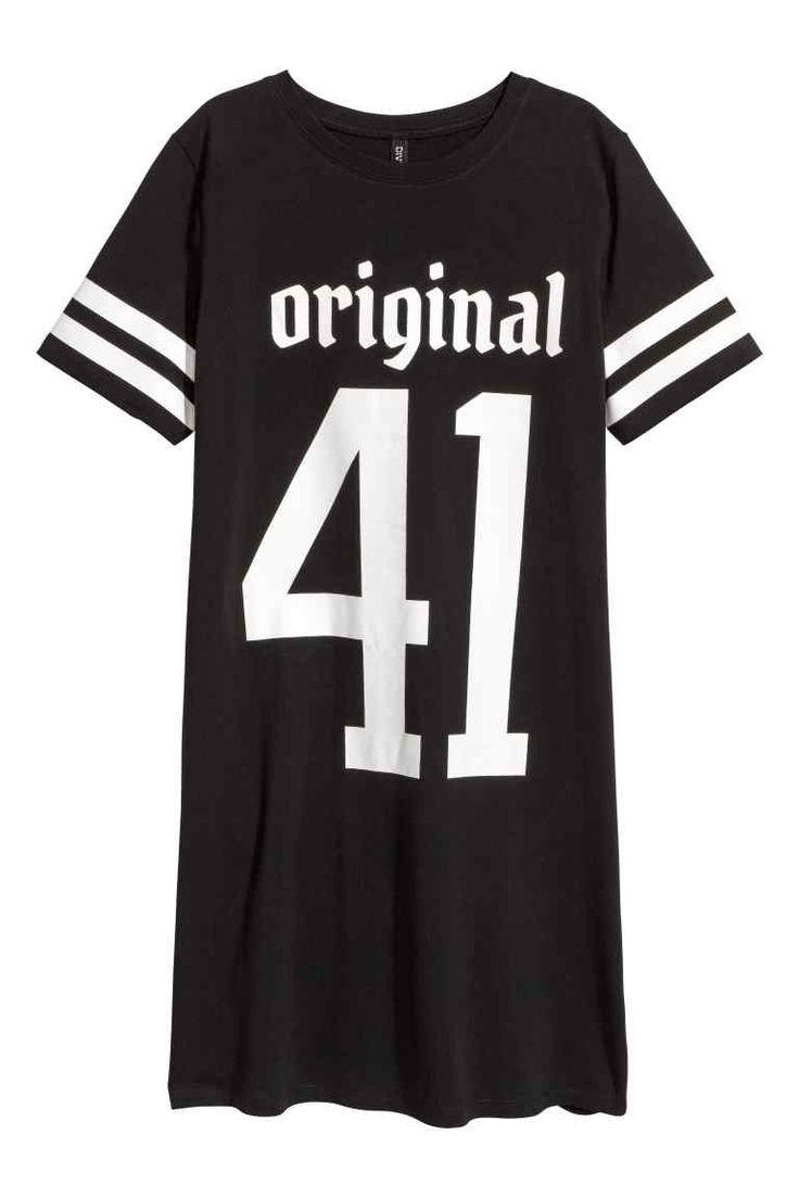 T-shirtjurk - Zwart/tekst - DAMES | H&M NL