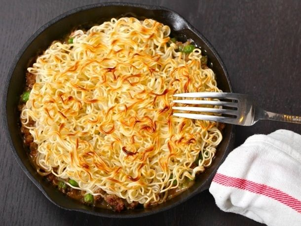 """Different ways to use ramen noodles! I think I might have to try the """"shepherds pie"""""""